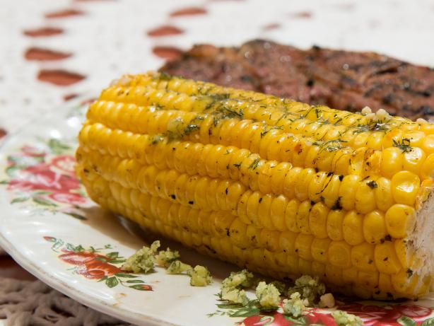 Grilled Corn with Garlic Dill Butter
