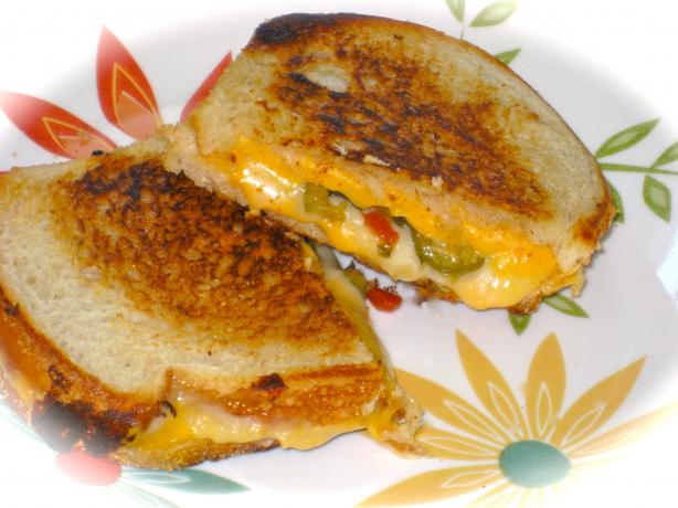 My Husband's Favorite Grilled Cheese & Green Olive Sandwich