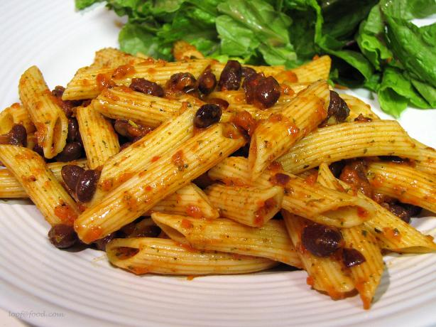 Pasta and Black Bean Salad With Roasted Red Pepper Dressing