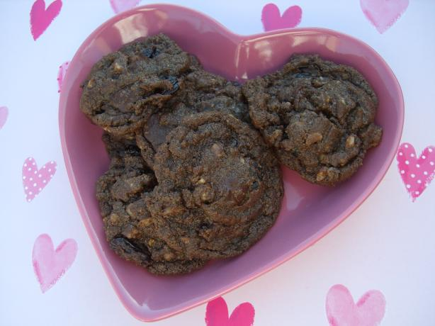 Chocolate Fudge Cookies With Toffee & Dried Cherries