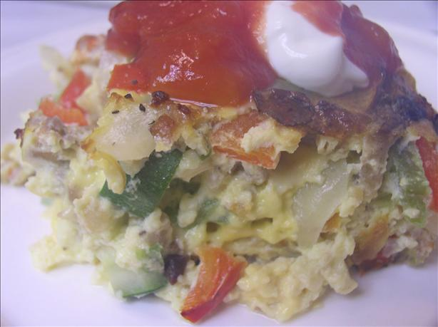 Hot Sausage and Vegetable Breakfast Casserole