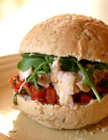 Basil Grilled Chicken Sandwiches With Red Pepper Relish