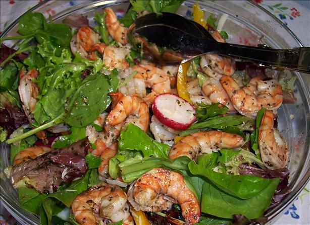 Grilled Herbed Shrimp on Mixed Greens