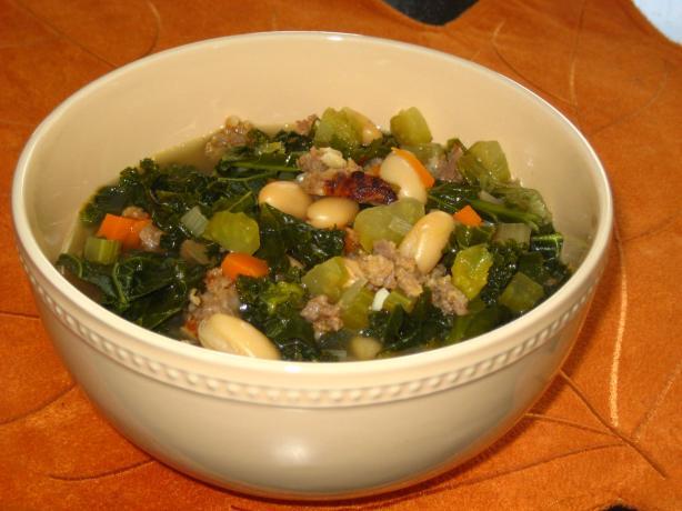 Mediterranean Kale & White Bean Soup With Sausage