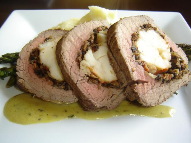 Lobster Stuffed Beef Tenderloin and Bearnaise Sauce