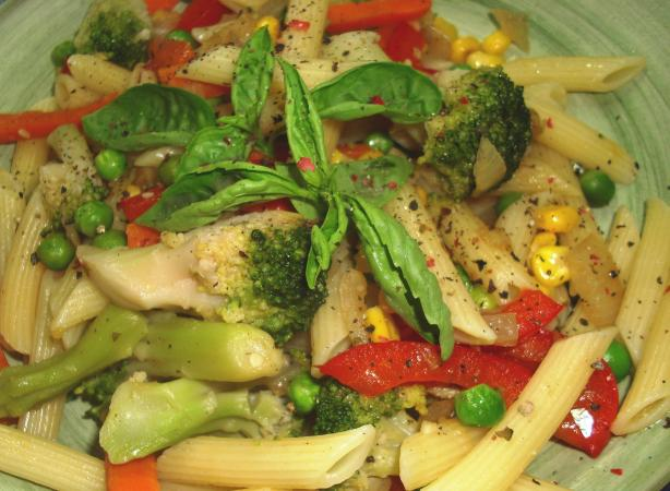 Creamless Penne Pasta Primavera With Olive Oil and Garlic