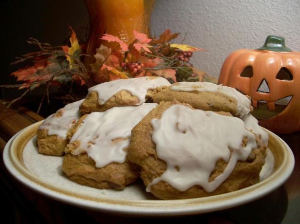 Glazed Soft Pumpkin Cookies