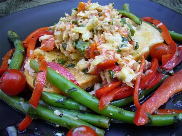 Mediterranean Tuna Salad on Grilled Tomato Herb Bread