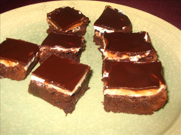 Brownies With a Chocolate Glaze and Mint Frosting