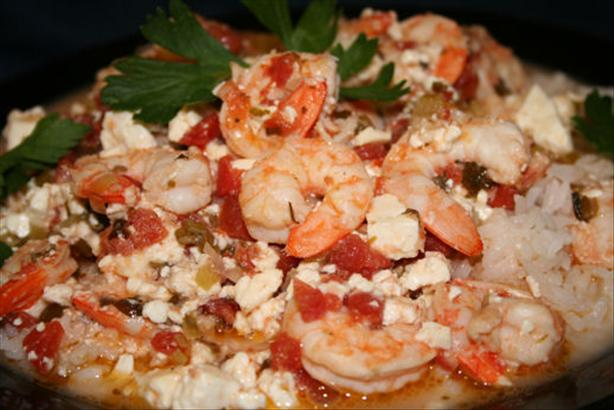 Prawns in Spicy Tomato Sauce With Feta Cheese