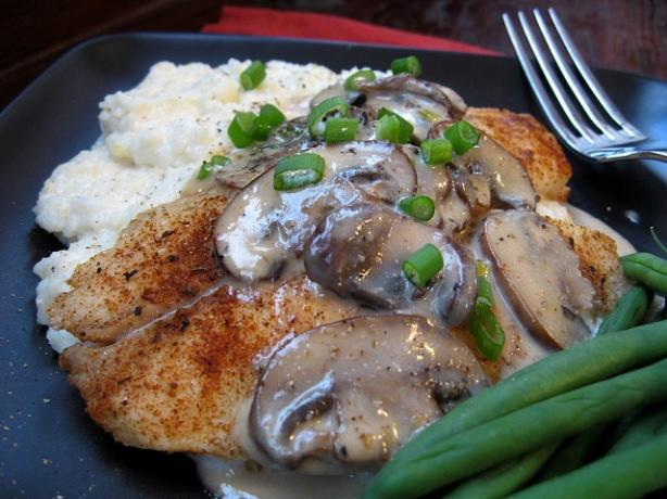 Spicy Grilled Tilapia W/ Creamy Grits or Rice and Mushroom Sauce