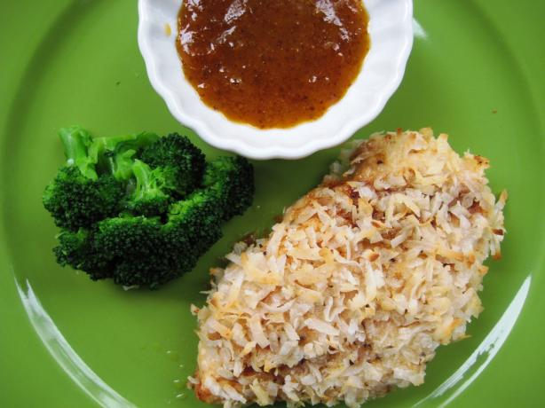 Crispy Coconut Chicken With a Apricot Curry Dipping Sauce