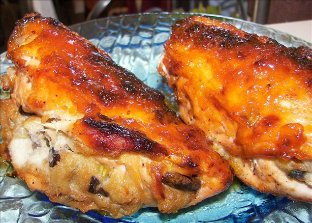 Stuffed Chicken Breasts W/ Apricot Glaze