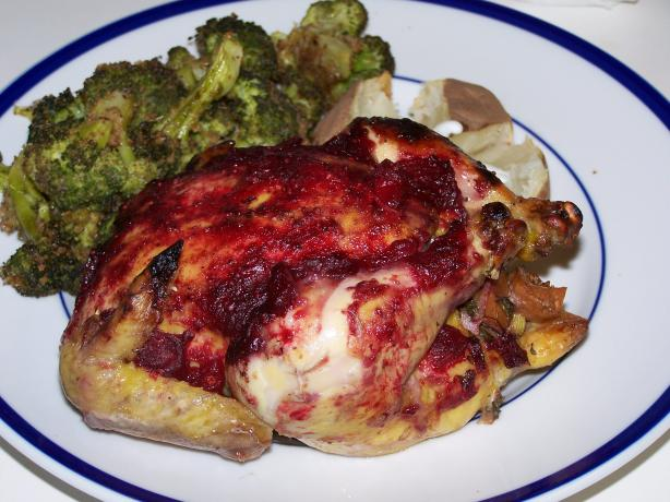 Stuffed Cornish Game Hens with Cranberry Glaze