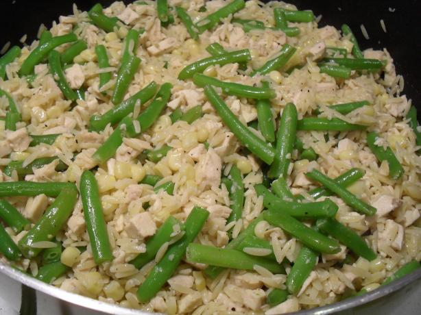 Orzo With Chicken, Corn and Green Beans