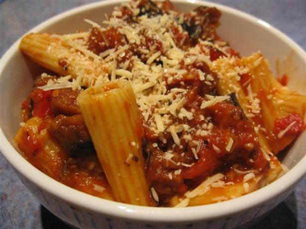 Rigatoni With Tomato, Eggplant, & Red Peppers