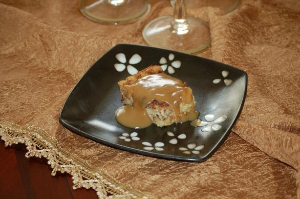 Old Fashion Bread Pudding With Caramel Sauce