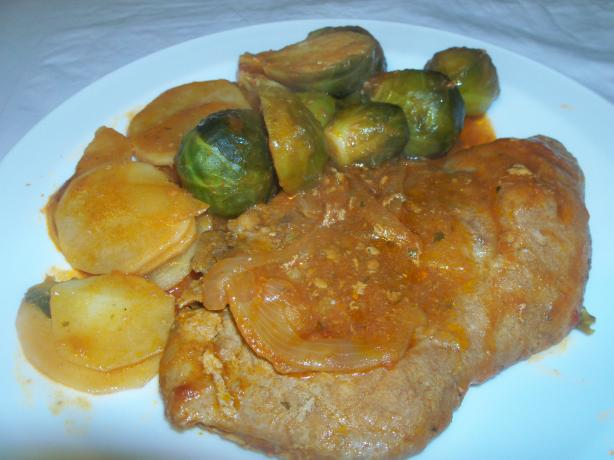 Brussel Sprout With Pork Chop in Tomato Sauce