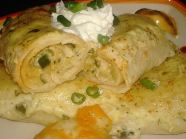 Roasted Poblano and Chicken Enchiladas With Sour Cream Sauce