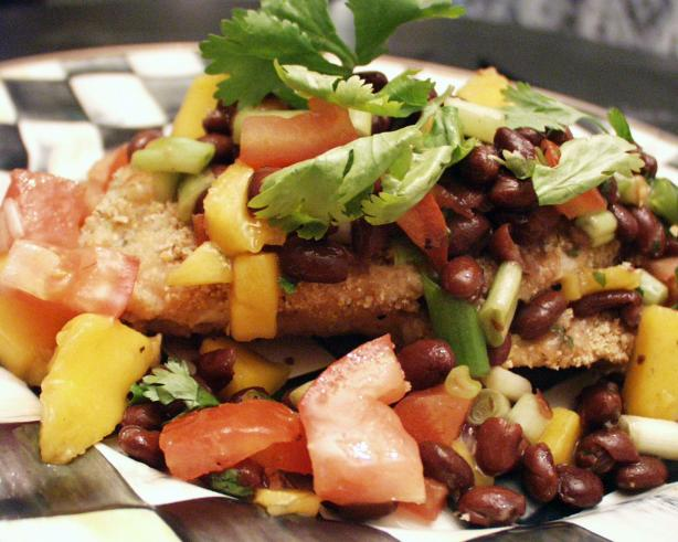 Oven-Fried Flaxseed Coated Turkey Cutlets With Black Bean Salsa