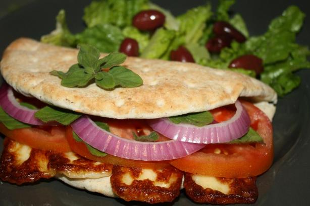 The Traditional Cyprus Sandwich With Halloumi, Onions and Tomato