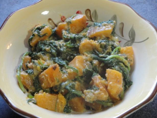 Butternut Squash W/ Wilted Spinach and Blue Cheese