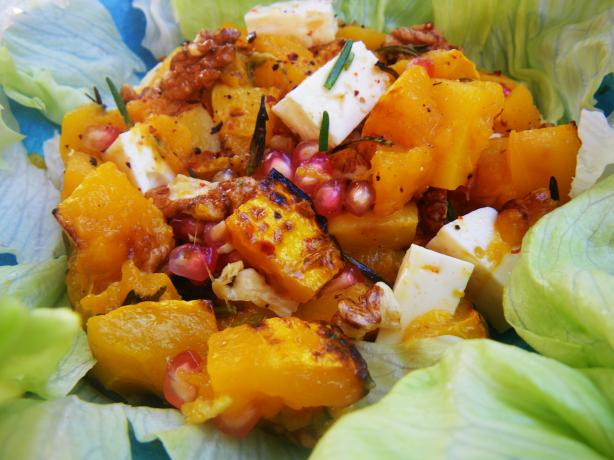 Salad of Warm Butternut Squash, Pomegranate and Greens