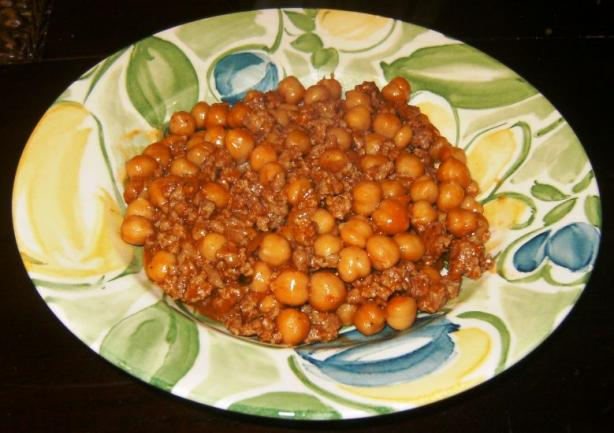 Spicy Chickpeas W/ Beef and Cilantro