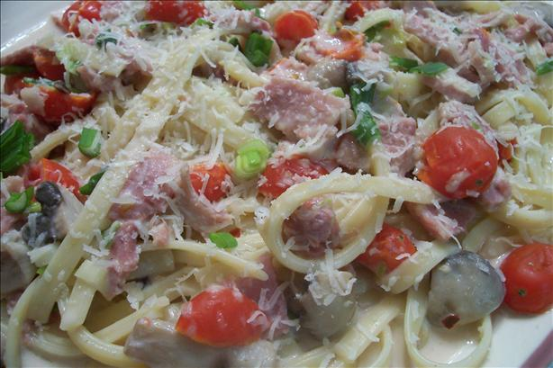 Fettuccine With Mushrooms and Cherry Tomatoes