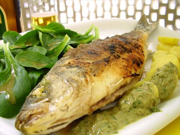 Roasted Sea Bass With Caper Sauce