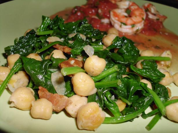 Spinach and Chickpeas With Bacon