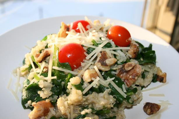 Quinoa Stir Fry With Spinach & Walnuts