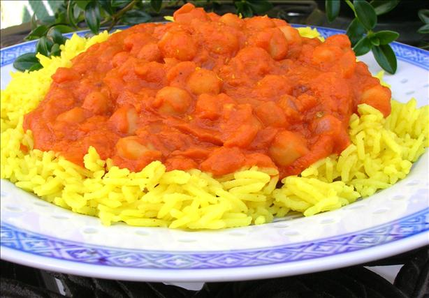 Chickpea Curry (Indian Style) over Basmati Rice