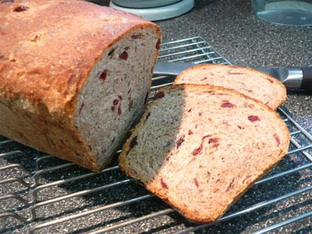 Rye W/Dried Cranberries and Toasted Pecans (A-B-M Dough Cycle)