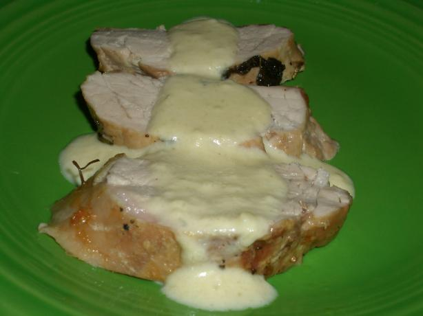 Pork With A Blue Cheese Apple and Mustard Sauce