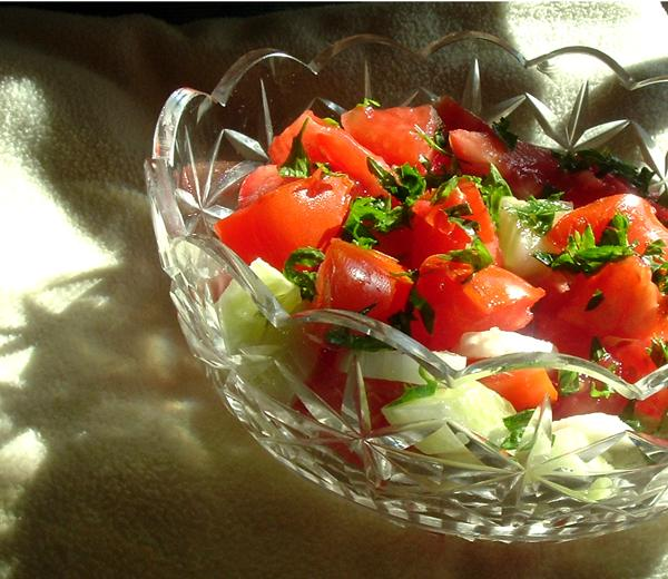 tomato, cucumber, & onion salad