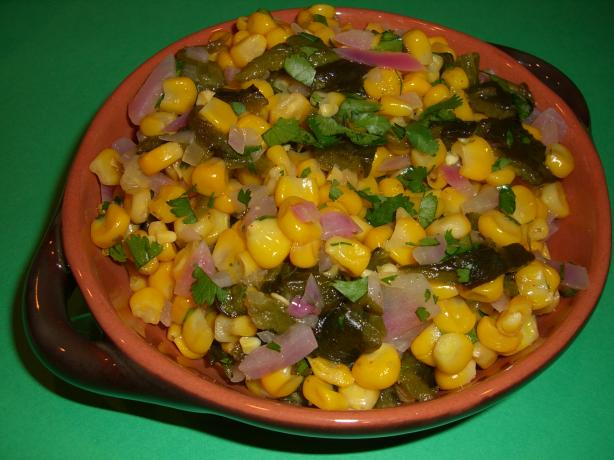 Corn and Fire-Roasted Poblano Salad With Cilantro