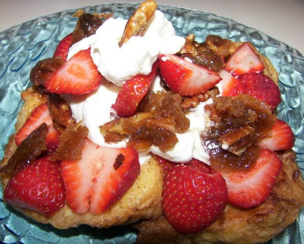 French Toast With Caramelized Pecans, Strawberries and Cream