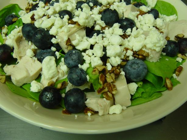 Blueberry Spinach Salad With Chicken, Pecans and Bleu Cheese