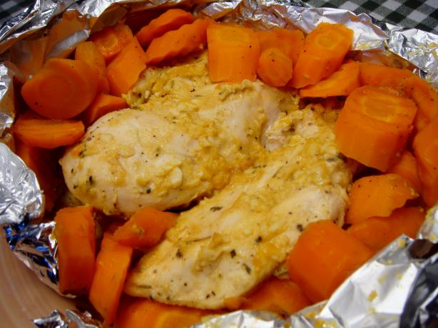 Honey-Mustard Chicken With Glazed Baby Carrots
