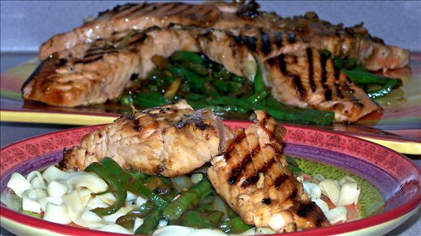Asian Style Salmon on a Bed of French String Beans