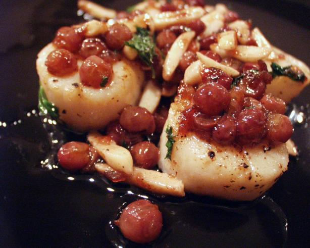 Pan-Seared Scallops With Champagne Grapes and Almonds