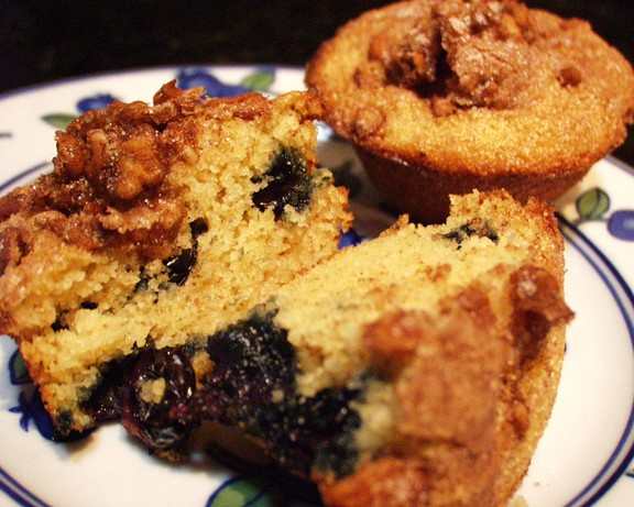Blueberry Almond Farina Muffins