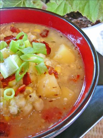 Summer Corn Chowder With Scallions Bacon & Potatoes