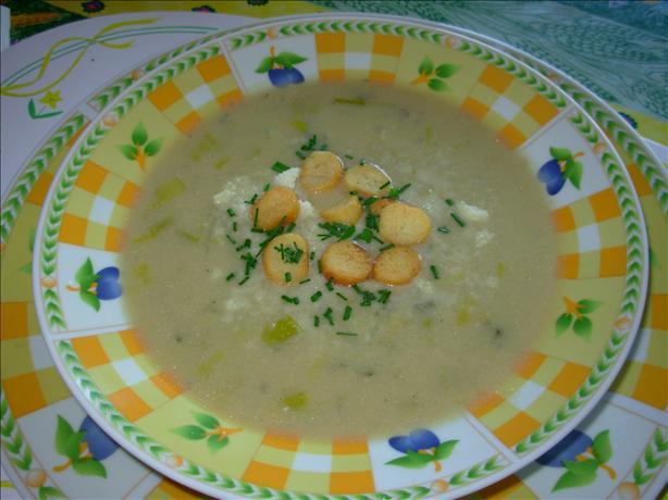 Stilton and Potato Soup With Cheese Croutons