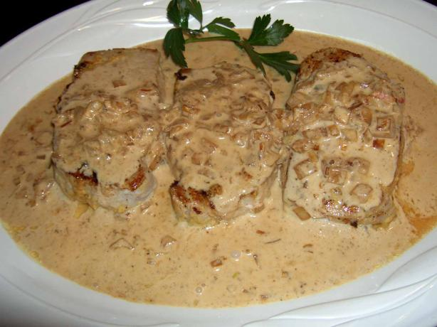 Dijon Pork Loin With Cognac Cream Sauce