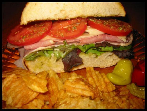 Pesto, Ham (Prosciutto) & Cheese Sandwich