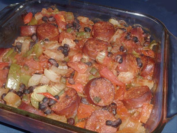 Black Bean Smoked Spicy Sausage Casserole