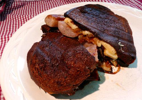Grilled Sausage Sandwiches With Caramelized Onions and Gruyere C