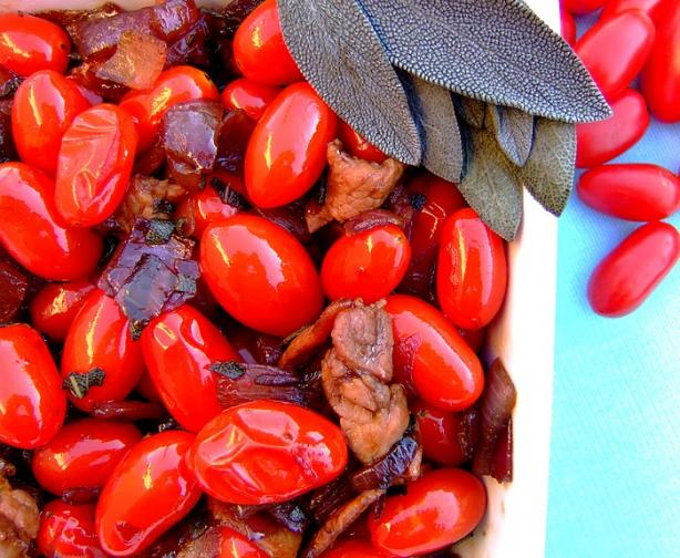 Grape Tomatoes With Onion, Bacon and Sage